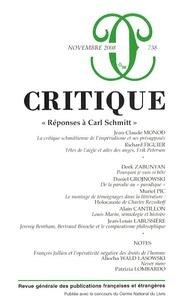 """Jean-Claude Monod et Richard Figuier - Critique N° 738, Novembre 200 : """"Réponses à Carl Schmitt""""."""