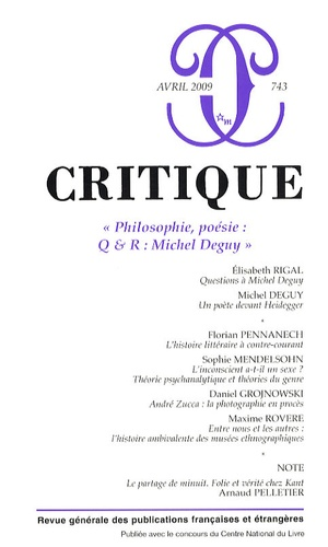Philippe Roger - Critique N° 743, Avril 2009 : .
