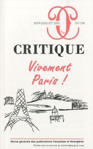 Philippe Roger - Critique N° 757-758, Juin-Jui : Vivement Paris !.