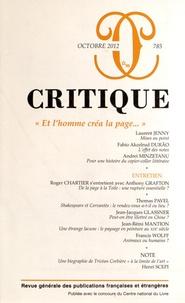 """Philippe Roger - Critique N° 785, Octobre 2012 : """"Et l'homme créa la page...""""."""
