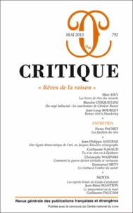 Philippe Roger - Critique N° 792, Mai 2013 : Rêves de la raison.