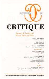 Elie During et Anoush Ganjipour - Critique N° 833, octobre 2016 : Retours de l'universel - Balibar, Milner, Salanskis.