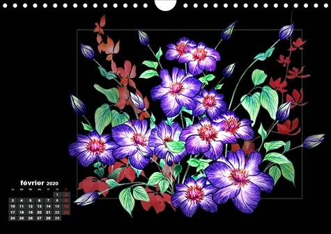 Dessins de fleurs (Calendrier mural 2020 DIN A4 horizontal). Dessins au crayon de couleur (Calendrier mensuel, 14 Pages )