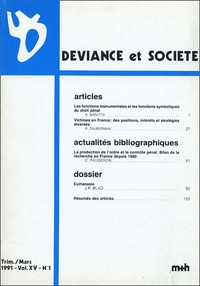 Renée Zauberman - Déviance et Société Volume 15 N° 1, Mars : .