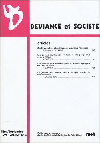 Fabienne Brion - Déviance et Société Volume 22 N° 3, Sept : .