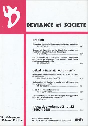 Riccardo Lucchini - Déviance et Société Volume 22 N° 4, Déce : .