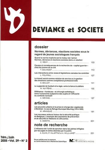 Lionel Pourtau et Williams Nuytens - Déviance et Société Volume 29, N° 2, Jui : .