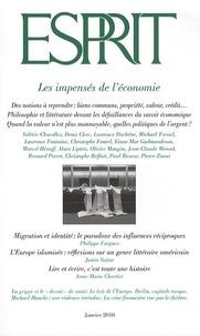 Philippe Fargues et Justin Vaïsse - Esprit N° 361, Janvier 2010 : Les impensés de l'économie.