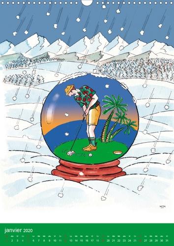 FOU DE GOLF (Calendrier mural 2020 DIN A3 vertical). Dessins humoristiques sur le golf (Calendrier mensuel, 14 Pages )