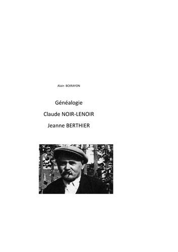 Alain Boirayon - Généalogie de Claude Noir-Lenoir et Jeanne Berthier.