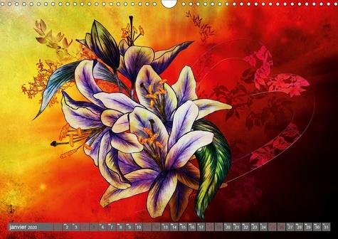 Harmonie des sens Beaux lys (Calendrier mural 2020 DIN A3 horizontal). Dessins aux crayons de couleur (Calendrier mensuel, 14 Pages )