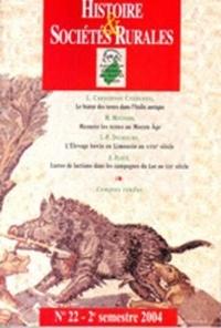 Luigi Capogrossi Colognesi et Mireille Mousnier - Histoire & Sociétés Rurales N° 22, 2e semestre 2 : .