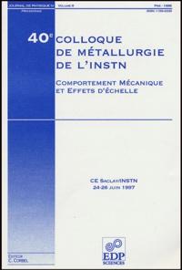 F Erbel et F Feyel - Journal de physique IV volume 8, Pr4 Jui : Comportement mécanique et effet d'échelle - 40e colloque de métallurgie de l'INSTN, CEA Saclay/INSTN, 24-26 juin 1997.