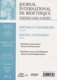 Georges-A Legault - Journal International de Bioéthique Volume 18 N° 4, Déce : Bioéthique et recherches (1re partie).
