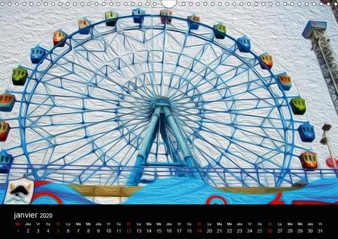 LA FÊTE FORAINE (Calendrier mural 2020 DIN A3 horizontal). Tableaux de peinture numérique sur le thème de la fête foraine. (Calendrier mensuel, 14 Pages )