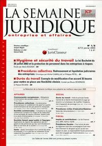 Alexis Bugada et Michel Cabrillac - La semaine juridique entreprise et affaires N° 1/2, 6-13 janvier : Hygiène et sécurité du travail.