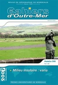 Omar Fertat - Les Cahiers d'Outre-Mer N° 240, octobre 2007 : Milieu insulaire - Varia.