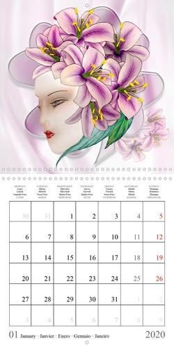Les dames aux lys (Calendrier mural 2020 300 × 300 mm Square). Dessins aux crayons de couleur (Calendrier mensuel, 14 Pages )