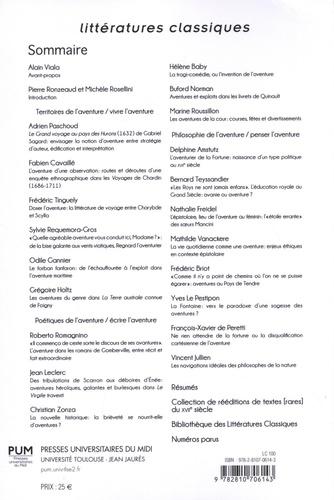 Littératures classiques N° 100/2019 L'aventure au XVIIe siècle : itinéraires d'une notion
