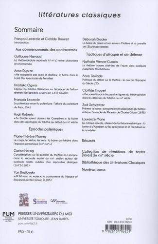 Littératures classiques N° 98/2019 La haine du théâtre - Controverses européennes sur le spectacle. Volume 1, Controverses et polémiques