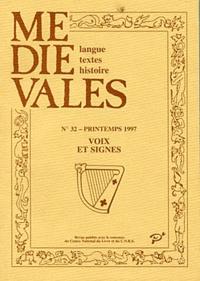 PU Vincennes - Médiévales N° 32 : Voix et signes, nouvelles musiques du XIIIe au XVe siècle.