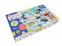 Emilie Lapeyre - Mon circuit de voitures en puzzle - Avec 25 pièces et 4 véhicules en bois pour jouer dessus.