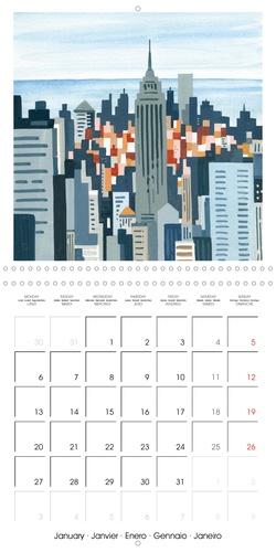 NEW YORK horizons (Calendrier mural 2020 300 × 300 mm Square). Quelques lignes, quelques couleurs et quelques formes suffisent pour raconter New York, ville si singulière. (Calendrier mensuel, 14 Pages )