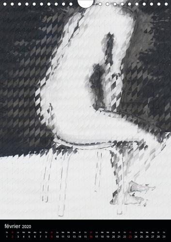 Nus d'encre (Calendrier mural 2020 DIN A4 vertical). Série de nus féminins à l'encre de Chine (Calendrier mensuel, 14 Pages )