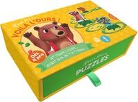 Sylvain Ménager - P'tit jeu de Voilà l'ours ! - Attrape-l'ours avant qu'il ne t'attrape ! Contient 20 cartes chemin, 5 pions à monter, 9 jetons, 4 badges.