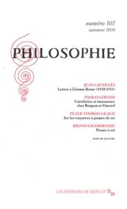 Jean Cavaillès et Paolo Godani - Philosophie 107, Automne 2010 : .