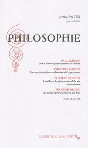 Paul Natorp et Philippe Cormier - Philosophie N° 104 : .