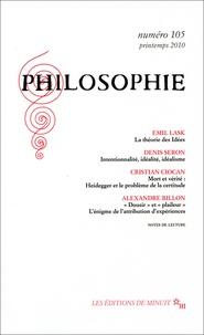 Emil Lask et Denis Seron - Philosophie N° 105, Printemps 20 : .