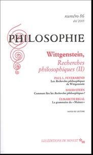 Paul Feyerabend - Philosophie N° 86, Eté 2005 : Wittgenstein, Recherches philosophiques (II).