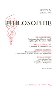 Heinrich Rickert et  Collectif - Philosophie N° 87, automne 2005 : .