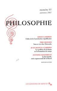 Ernst Cassirer et Eric Dufour - Philosophie N° 95, Automne 2007 : .