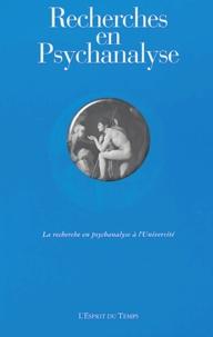Sophie de Mijolla-Mellor et Paul-Laurent Assoun - Recherches en Psychanalyse N°1, 2004 : La recherche en psychanalyse à l'université.