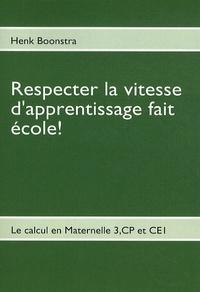 Henk Boonstra - Respecter la vitesse d'apprentissage fait école ! - Le calcul en Maternelle 3, CP et CE1 (Cycle 2).