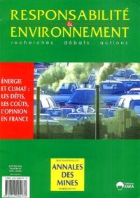 Michel-Louis Levy et Dominique Blanc - Responsabilité & environnement N° 29, Janvier 2003 : Energie et climat : les défis, les coûts, l'opinion en France.