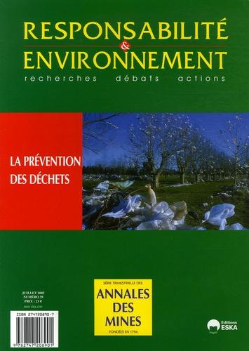 François Valérian et Daniel Béguin - Responsabilité & environnement N° 39, Juillet 2005 : La prévention des déchets.