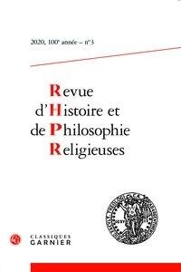Christian Grappe - Revue d'Histoire et de Philosophie Religieuses N° 3/2020 : .