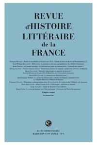 Revue D Histoire Litteraire De La France N 1 2019 Pdf Livre