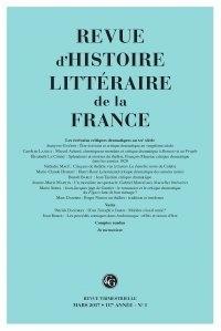 Alain Génetiot - Revue d'histoire littéraire de la France N° 1, janvier 2017 : .