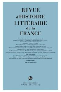 Alain Génetiot - Revue d'histoire littéraire de la France N° 18, juin 2021 : .