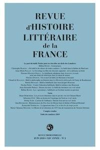 Alain Génetiot - Revue d'histoire littéraire de la France N° 2, juin 2020 : Le pari du babil - Parler pour ne rien dire au siècle des Lumières.