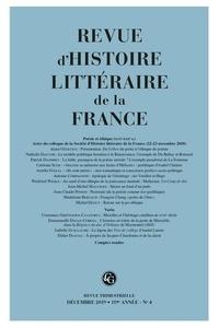 Revue dhistoire littéraire de la France N° 4, 2019.pdf