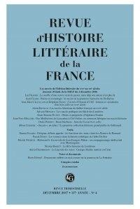 Alain Génetiot - Revue d'histoire littéraire de la France N° 4, décembre 2017 : .