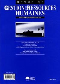 Marc Bonnet et Pierre Louart - Revue de Gestion des Ressources Humaines N° 70, Octobre-novem : Congrès AGRH 2008, Dakar : à quoi sert la GRH ? La contribution de la GRH au développement des territoires et des organisations.