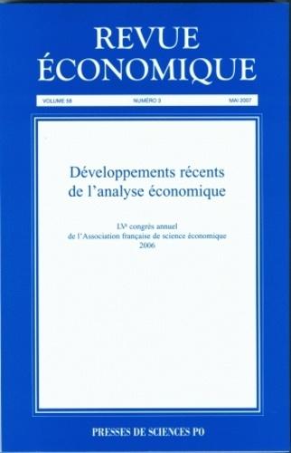 Antoine d' Autume et Olivier Donni - Revue économique Volume 58 N° 3, Mai : Développements récents de l'analyse économique.