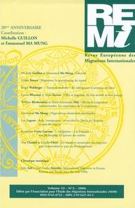 Michelle Guillon et Emmanuel Ma Mung - Revue européenne des migrations internationales Volume 22 N° 2/2006 : 20e Anniversaire.