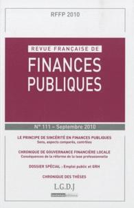 Michel Bouvier et Marie-Christine Esclassan - Revue française de finances publiques N° 111, Septembre 20 : .